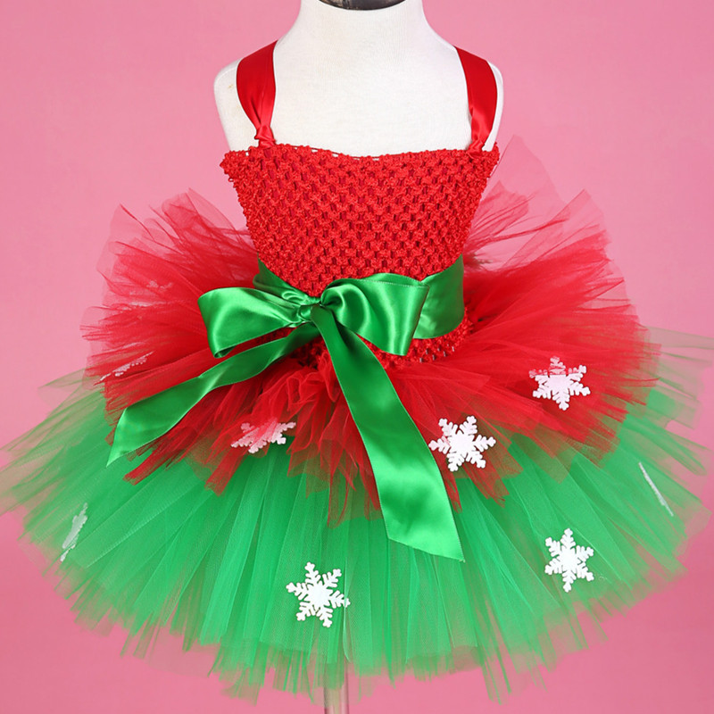 Baby Kids Girls Christmas Dress Snowflake Tulle Tutu Dress Princess Costumes Kids Performance Party Dresses New Year Girls Dress