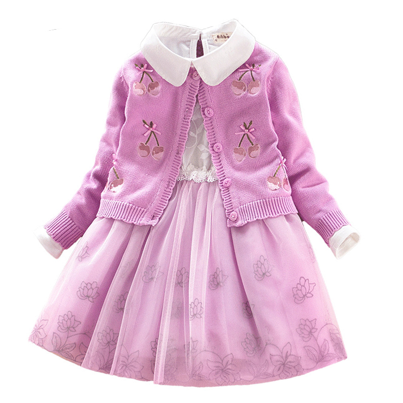 Children Set Girls School Dress Set Cotton Sweater Coat+lace Dresses 2pcs Spring/autumn\winter Princess Cherry Clothes for Party kid girls sweater lace dress 2018 spring