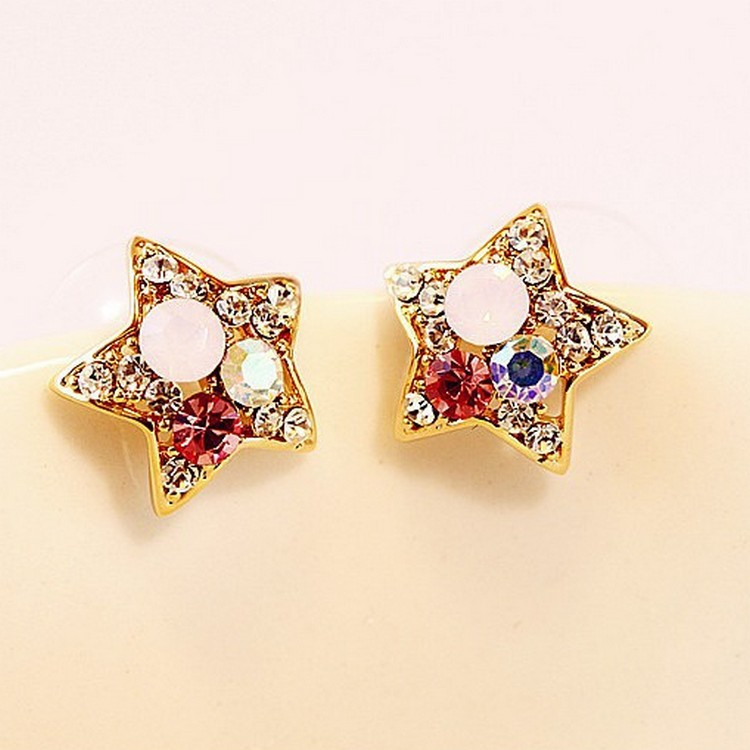 The New Big Fashion Luxury Imitation Diamonds And Gold Pentagram Earrings Jewelry Wholesale Women Cheap Marketing