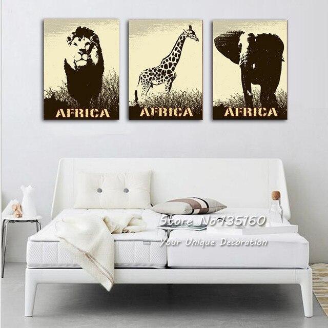 3 Panel Wall Art Modern Home Decoration Elephant Lion Giraffe ...