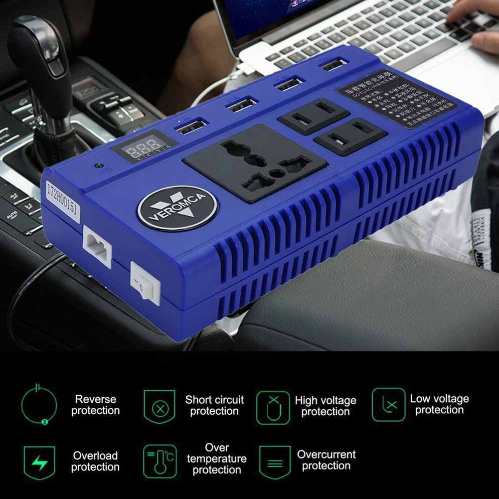 Mobil Otomatis Portabel Power Inverter Converter 4 Port USB Charger Smart Power Strip Inverter dengan LED Display