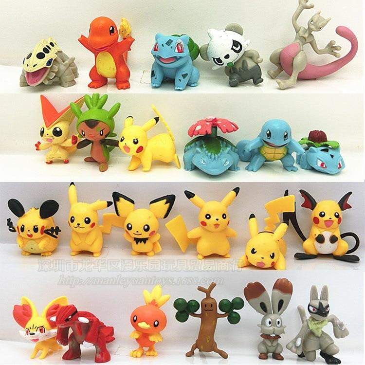 24 Style Set Pikachu Figures Pokemon Figure Pvc Action Lot Cartoon Pokemoning Doll Toys For Children Movie & TV Model