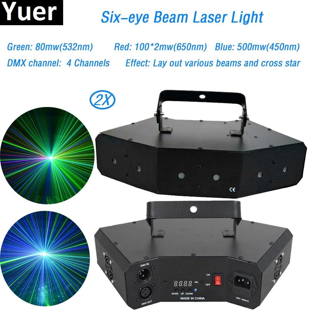 2 pcs lote feixe de luz laser rgb cor seis olho feixe de laser para o