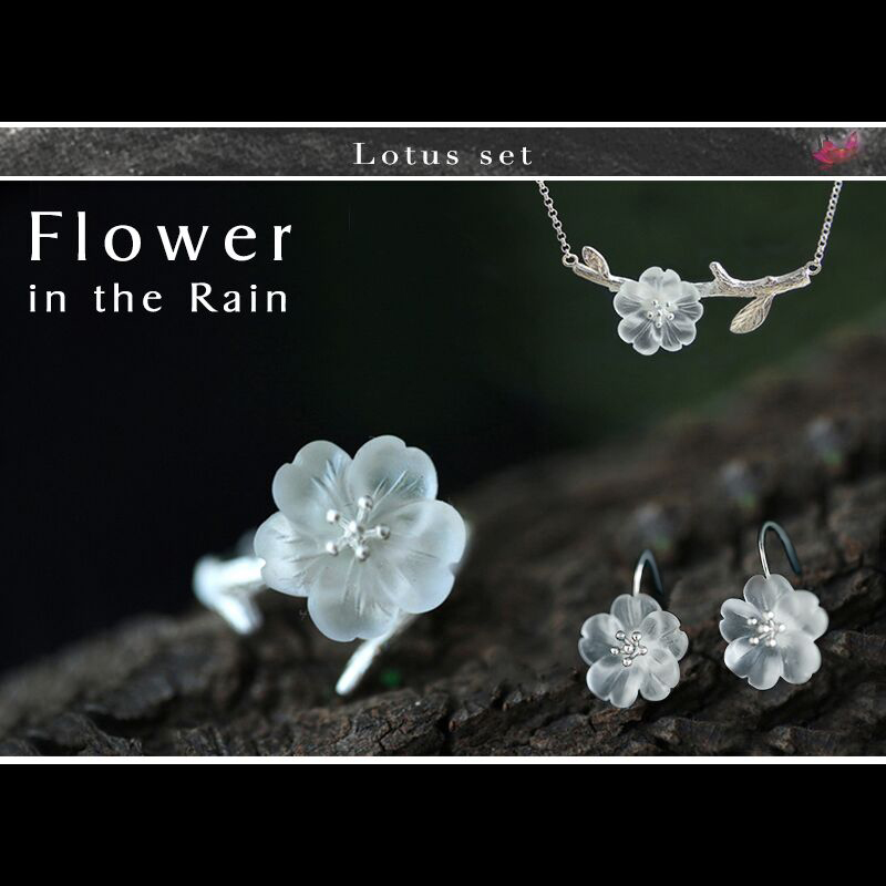 Lotus Fun Real 925 Sterling Silver Handmade Fine Jewelry Flower in the Rain Jewelry Set with Ring Drop Earring Pendant Necklace цена