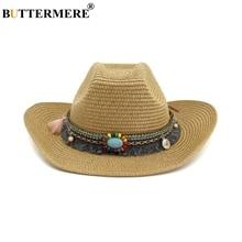 BUTTERMERE Hat Cowboy For Women Men Khaki Ethnic Style Summer Beach Straw Sun Hats Female Male
