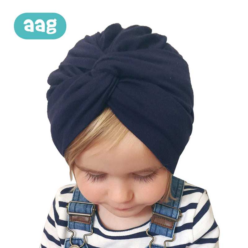AAG Cotton Baby Hat Sleep Cap Infant Turban Bowknot Baby Girls Headscarf Elastic Bandanas Solid Color Newborn India Hat in Hats Caps from Mother Kids
