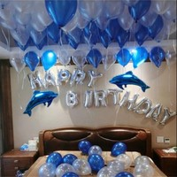 Happy birthday balloons 1 set of blue ballons cartoon dolphins foil balloons bairthday party decorations kids inflatable ball