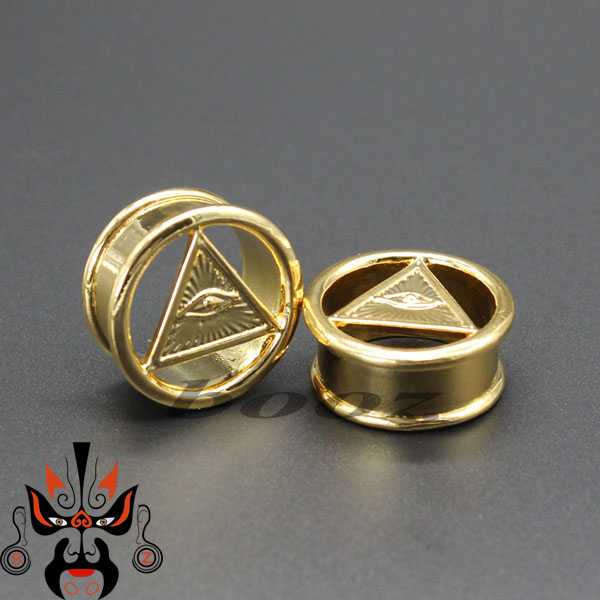 Hot Gold And Silver Ear Plug Tunnel Piercing Body Jewelry Copper Expander Gauges Eye Logo By Pair 10mm To 25mm In From