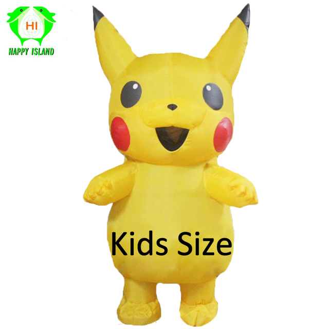 Children Pikachu Inflatable Costumes Halloween Cosplay Costume Jumpsuit for 0.9m-1.3m Kids Mascot Costume Party Costume