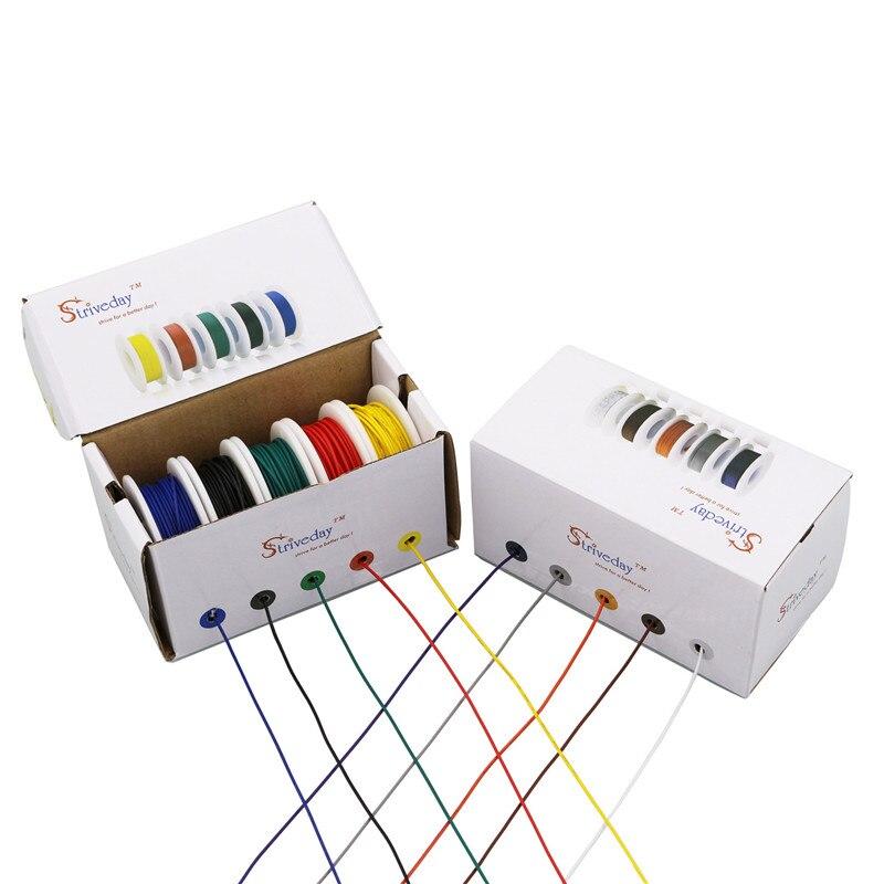 UL 1007 30awg 50 м/коробка кабель провода 5 видов цветов многожильные провода Mix Kit электрическая линия авиакомпания Медь PCB провода DIY