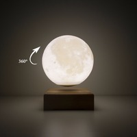 3D Printed Moon Light Automatically Rotate The Magnetic Suspended Night Light Luminaria Wooden Usb Touch Light