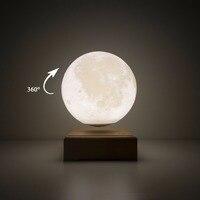 3D Печатный лунный свет автоматически вращается Магнитный Подвесной ночной Светильник ламинария деревянный Usb сенсорный свет прикроватная