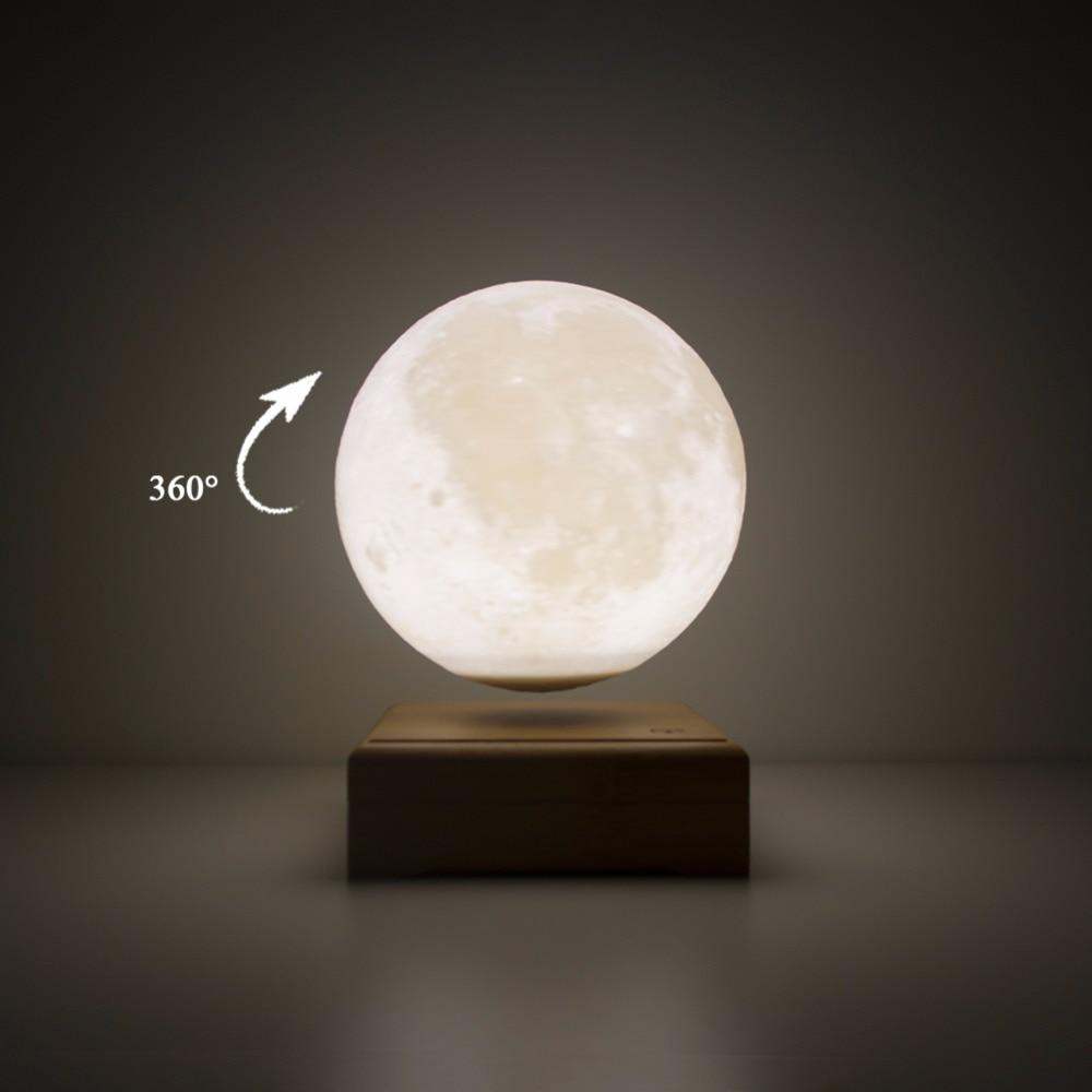 La lumière de lune imprimée en 3D fait automatiquement pivoter la veilleuse suspendue magnétique Luminaria en bois Usb tactile lampe de chevet