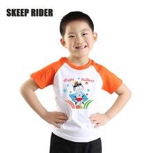 Superhero T Shirts For Boys Cotton Birthday Tshirt Kids Orange Raglan Clothes Short Sleeves Girls Tops Summer