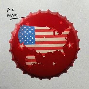Dl-¡ regalo promocional!! Mapa Retro USA tapa de botella cartel colgante de oficina signos casa café decoración artística del hogar