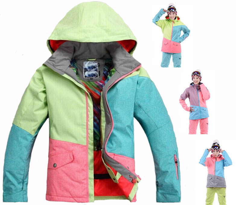 GSOU SNOW Three Colorful Women Ski Suit Ladies Snowboard Jacket outdoor Sports overcoats 10K waterproof Warm winter Snow Costume