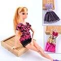 BBGUN001 3 Unids/lote Más Nuevo Denim + Leopard Vestido de la Muñeca BJD Hermosa Ropa de Fiesta Vestido De La Manera Superior Para Barbie Doll Mejor Regalo de las muchachas