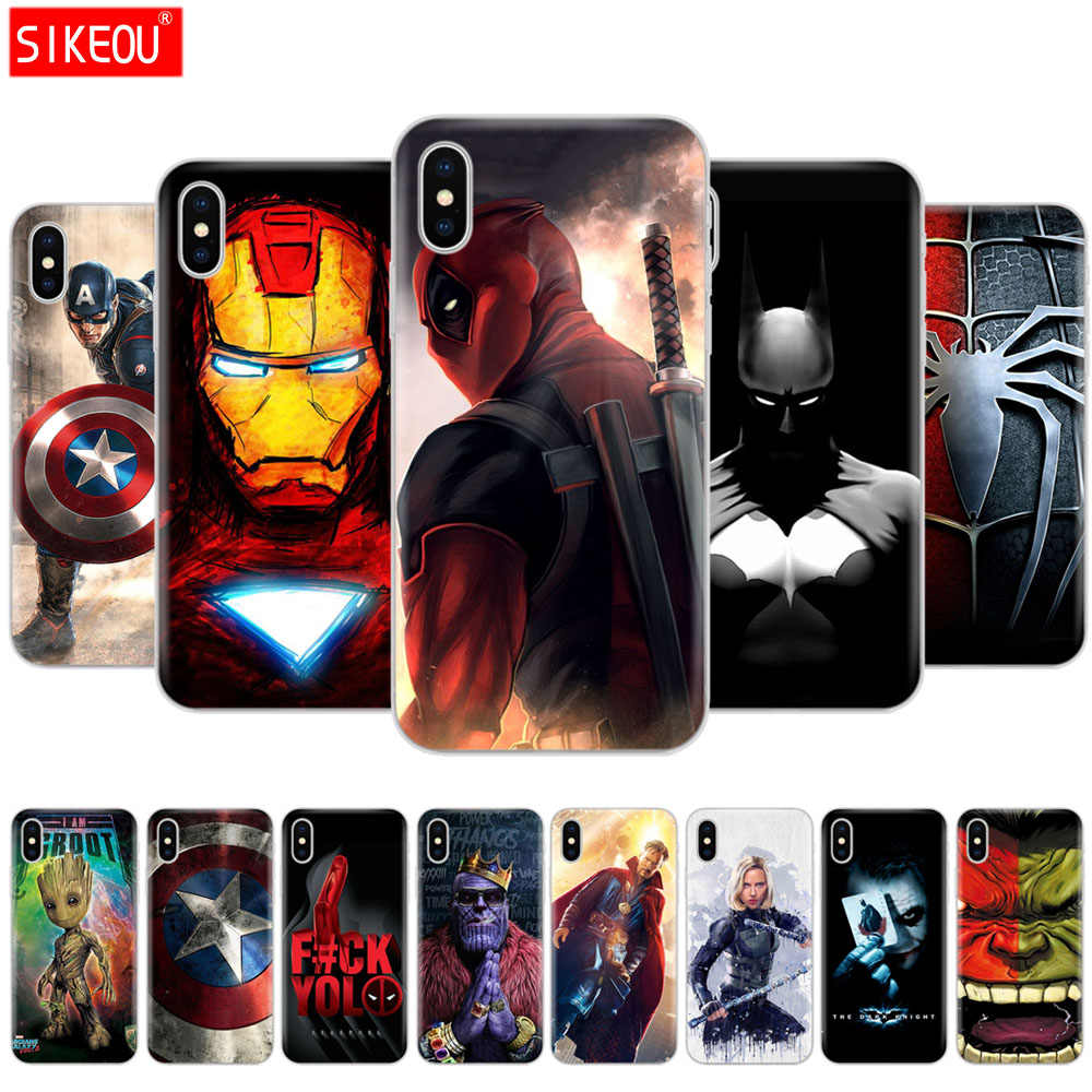 Caso para iphone 5s SE 4 4S 6 s 6 7 8 plus para iphone X XS X XR XS. funda Marvel vengadores superhéroe capitán ironman thanos