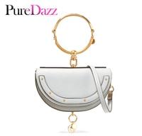 2019 Luxury Women Bag Brand Shoulder Bag Half Moon Handbag Fashion Crossbody Bag Genuine Leather Purse Ring Ladies Bag