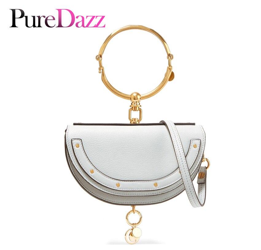 2019 luxe femmes sac marque sac à bandoulière demi-lune sac à main mode sac à bandoulière en cuir véritable sac à main anneau dames sac