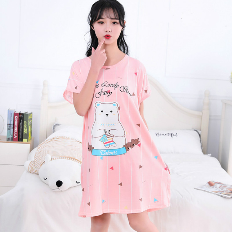 Women Cotton Sleepwear Plus Size Maternity Clothing Dress Sweet Cute Home Clothing Sleep Lounge For Pregnancy Pregnant Woman