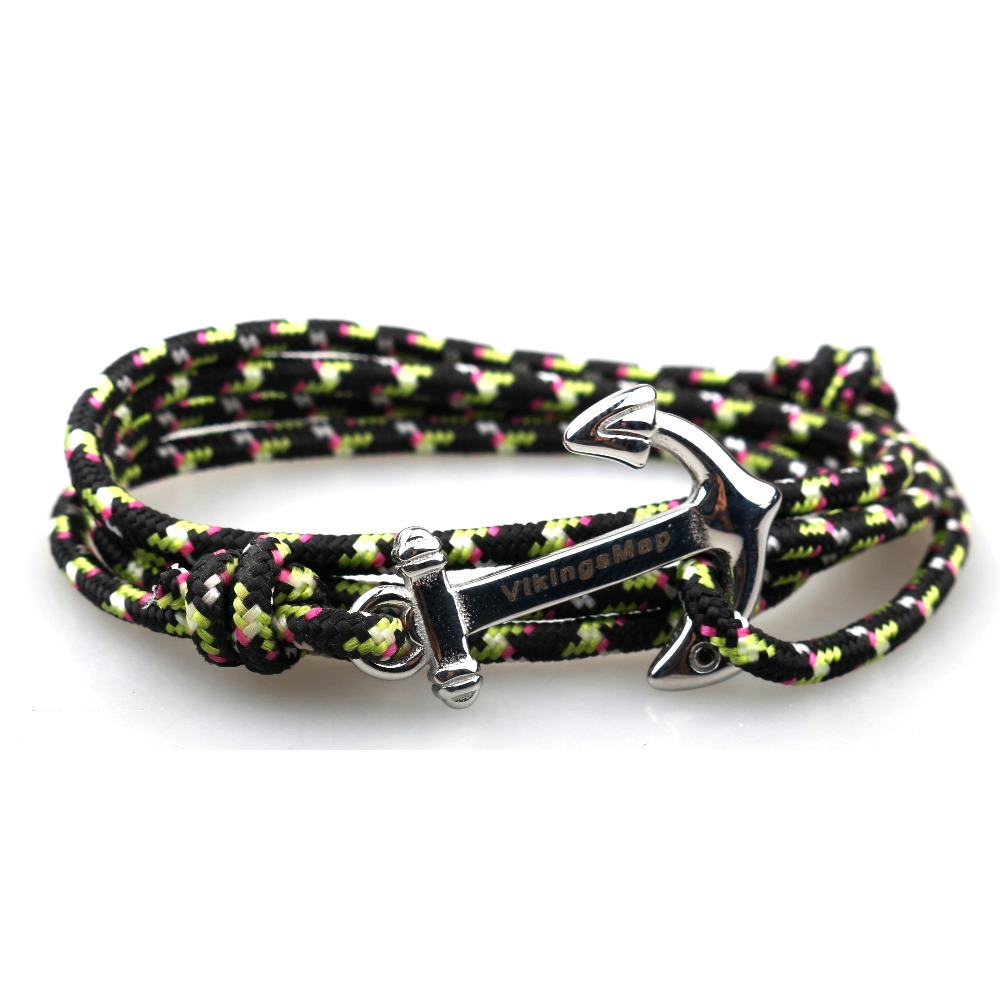 2018 Handmade Jewelry Silver/black Alloy Anchor Bracelet Multilayer Rope Chain Paracord Bracelet For Women Men Navy Style Gift Bright In Colour Bracelets & Bangles Jewelry & Accessories
