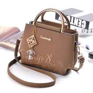 Image 2 - Women Small Bag Female EmbroideryPU Leather Designer Bag 2019 Fashion New Flower Shoulder Bag Womens Handbag