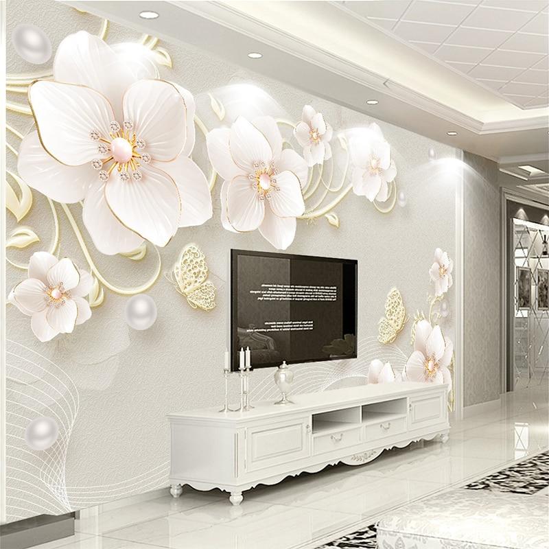 Custom Mural Wallpaper 3d Stereoscopic Relief Pearl: Custom Mural Wallpaper 3D Stereo Relief Jewelry Flower