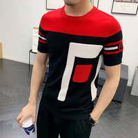 Summer Dress Short Sleeve Male Knitting Tshirt Tee Jacquard Weave High Quality Streetwear Round Sleeve T shirt Camisetas Hombre