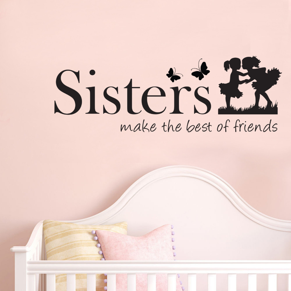 online get cheap vinyl wall stickers sisters aliexpress com sisters make the best of friends quote vinyl wall art decals wall stickers for kids bedroom