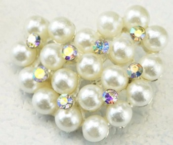 100pcs 22*26mm Heart Pearl AB Rhinestone Buckle Button With Shank For Shrit Coat Cap Shoes Bag Crafts Sewing