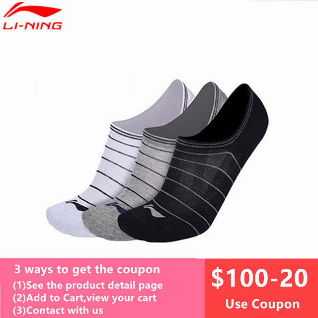 3 Pairs Antibacterial Deodorant Li-Ning Sports Socks for Men and Women Breathable Comfort Thin Lining Anklet Ankle Socks L888OLB