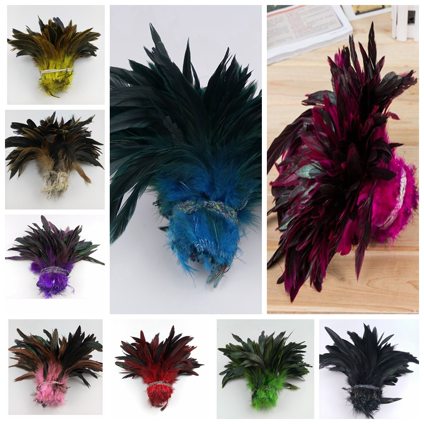 5pcs lot 12 15cm 5 6 inch Cheap Decolorizing Natural Grizzly Rooster coque Feathers Hair Extensions
