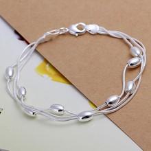 Free Shipping Wholesale silver bracelet, 925 fashion silver plated jewelry Three Line Gloss Ball Bracelet /TNIDWLUM KZPKFUII