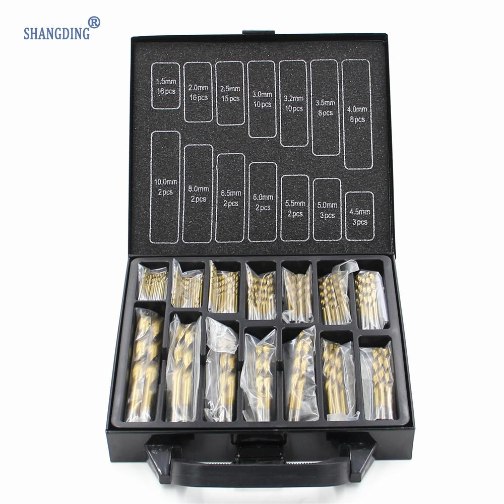 Free shipping Iron Box packing 99PCS HSS Twist Drill Bits Set 1.5-10mm Titanium Coated Surface 118 Degree For Drilling Metal free shipping of 1pc 19 223mm cnc grinded hss m2 made taper shank twist drill bits for various kinds of material drilling work