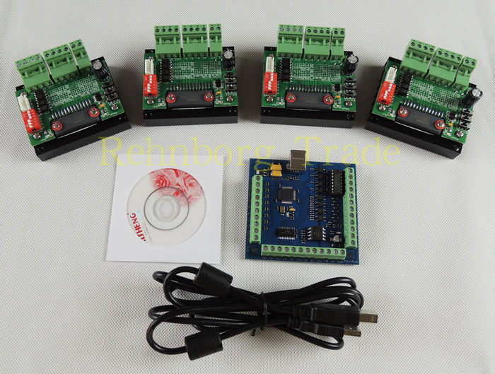 CNC mach3 4 Axis usb Kit, 4pcs TB6560 Single Axis Driver Board+one mach3 4 Axis USB CNC Stepper Motor Controller card 100KHz 24V мотоцикл horizon motor r2