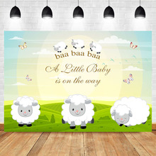 Farm Cute sheep Baby Shower Backdrop Sunny Grassland Butterfly Photo Background Newborn Cake Banner Decorate Props