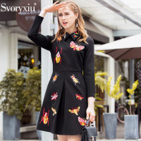 Svoryxiu 2018 Designer Autumn Winter Party little Black Dresses Women's High Quality insect Embroidery Fashion Dress Vestdios
