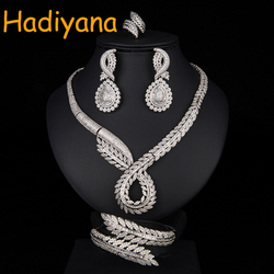 Hadiyana Bridal Jewelry 4pcs Set Focus On The Unique Charm Of Women's A Private Custom Jewelry Necklace Wedding Party Prom CN761