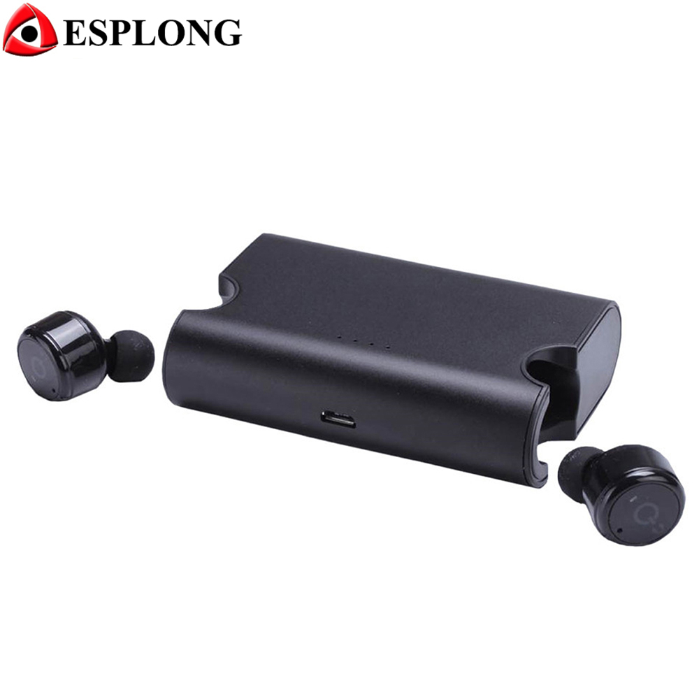 True Bluetooth 4.2 Headset Twins Wireless Headphone TWS X2T Mini Bluetooth Earphone With 1500mAH Power Bank for iphone xiaomi remax 2 in1 mini bluetooth 4 0 headphones usb car charger dock wireless car headset bluetooth earphone for iphone 7 6s android