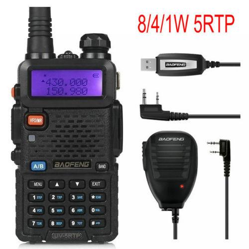 Baofeng UV-5RTP 136-174 / 400-520 MHz երկկողմանի FM FM / 4 / 8W երկկողմանի խոզապուխտ Radio Walkie Talkie- ը հեռակառավարման խոսնակների ծրագրավորման մալուխով
