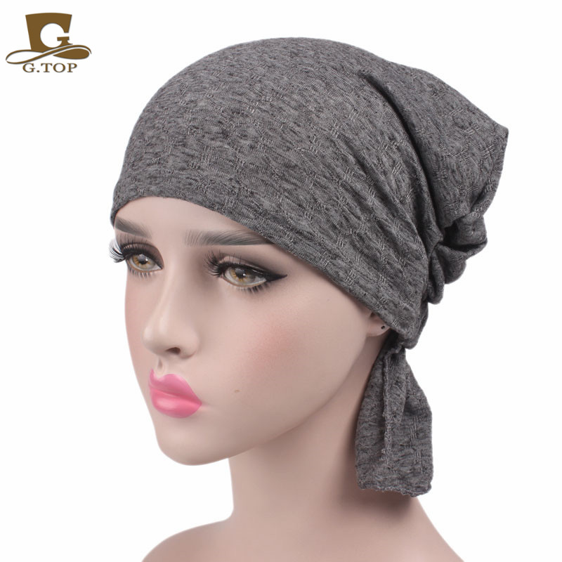 New Women cotton Chemo Hat stretchy Beanie headscarf Turban Headwear for Cancer  Patients 0cbdb8a151b