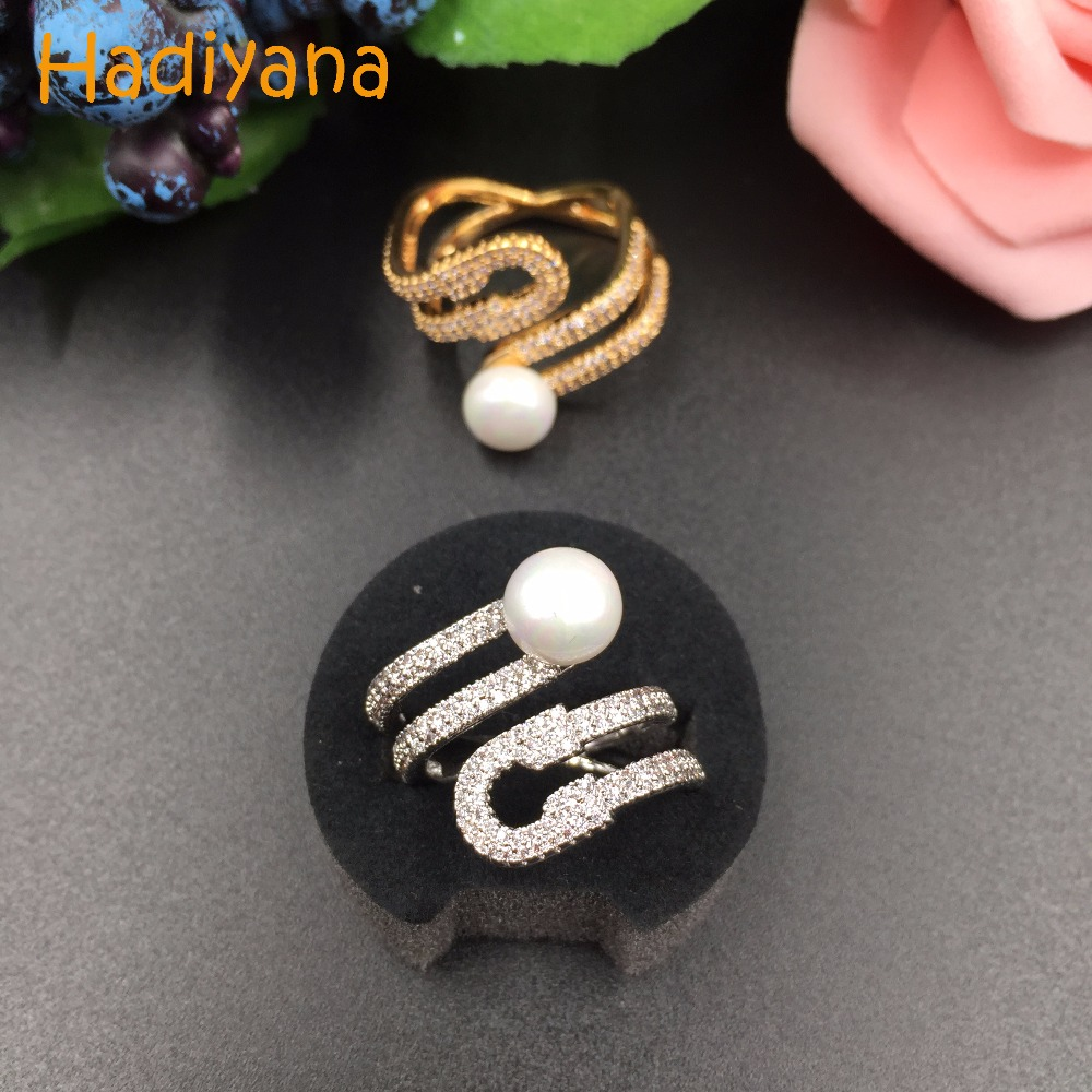 HADIYANA Fashion Cubic Zirconia Micro Pave Setting Clear Stone Square Finger Ring Pearl Brilliant ,adjustable size CP256