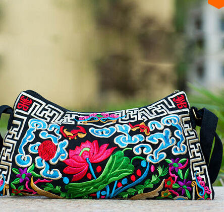 national trend embroidered bags Double faced flower embroidery cross-body small one shoulder messenger bag women's handbag national trend women handmade faced flower embroidered canvas embroidery ethnic bags handbag wml99