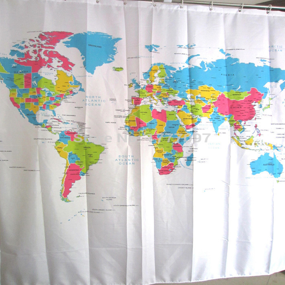 Dazzling World Map Shower Curtain 180 Polyester Abstraction Bathroom Accessories Waterproof Flat Screen