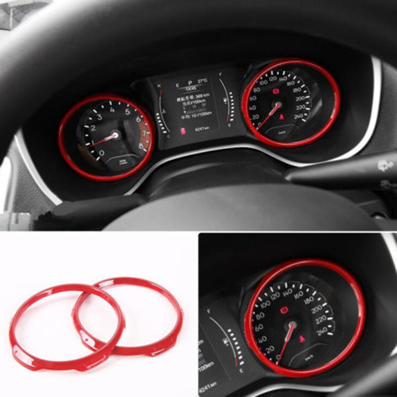1Pair Red Dashboard Frame Cover Trim Frame For <font><b>Jeep</b></font> <font><b>Compass</b></font> 2017 2018 <font><b>2019</b></font> <font><b>Accessory</b></font> ABS Durable Car <font><b>Accessories</b></font> image