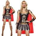 Pu de Couro Gladiador Romano Cosplay Popular Espanhola Traje Feminino Traje Trajes de halloween para As Mulheres