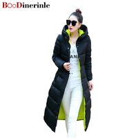 BOoDinerinle Parkas Winter 2019 Women's Puffer Jacket Plus Size Slim Hooded Long Coat Thin Knees Padded Jacket Thicker Coats