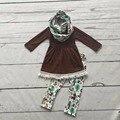 2016 ОСЕНЬ/Зима шарф набор детей хлопок костюм детские лес животных девушки 3 шт карие длинные рукава брюки бутик одежда для детей