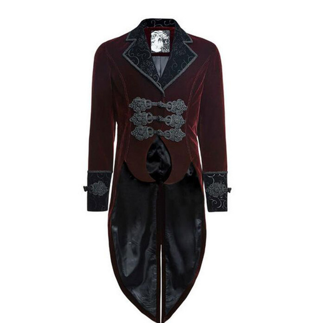Gothic Punk Red Man Dovetail Coat Long Sleeve Gentle Jacket With Scissors Tail Winter Single Breasted Long Sleeve Wool Coats